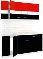 Готовая кухня Кортекс мебель Корнелия Экстра 1.8м (красный/черный/королевский опал) -