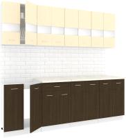 Готовая кухня Кортекс мебель Корнелия Экстра 2.4м (венге светлый/венге/королевский опал) -