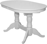 Обеденный стол Рамзес Раздвижной массив овальный 130-170x80 (белый) -