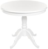 Обеденный стол Рамзес Раздвижной массив круглый 90-125x90 (белый) -