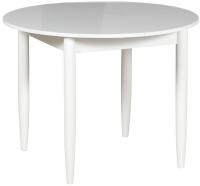 Обеденный стол Рамзес Раздвижной круглый 94-124x94 (0029 глянец/ноги конусные белые/кр. белый) -