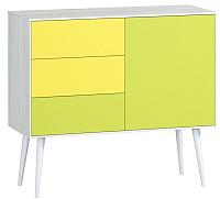 Комод Woodcraft Дженсон 713 (белый/жёлтый/лайм) -