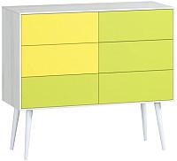 Комод Woodcraft Дженсон 714 (белый/жёлтый/лайм) -