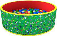 Игровой сухой бассейн Romana Веселая поляна ДМФ-МК-02.51.02 (100 шариков, зеленый/красный) -
