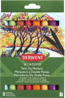 Набор маркеров Derwent Academy Twin-Tip / 98208 (8шт) -