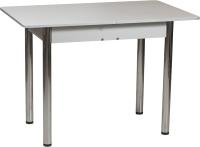 Обеденный стол Рамзес Раздвижной прямоугольный ЛДСП 110-140x70 (серый/ноги хром) -