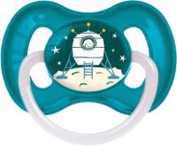Пустышка Canpol Космическая латексная круглая 6-18мес / 23/222 (голубой, со светящимся колечком) -