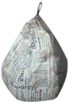 Бескаркасное кресло Аквилон Груша (газета милк/стрит какао) -