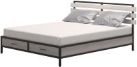 Двуспальная кровать Millwood Neo Loft КМ-1.6 Л (дуб белый Craft/металл черный) -