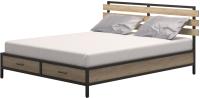 Двуспальная кровать Millwood Neo Loft КМ-1.6 Л (дуб золотой Craft/металл черный) -