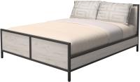 Двуспальная кровать Millwood Neo Loft КМ-2.6 Л (дуб белый Craft/металл черный) -