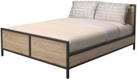 Двуспальная кровать Millwood Neo Loft КМ-2.6 Л (дуб золотой Craft/металл черный) -