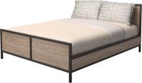 Двуспальная кровать Millwood Neo Loft КМ-2.6 Л (дуб табачный Craft/металл черный) -