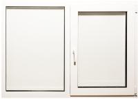 Окно ПВХ Добрае акенца С глухой и поворотно-откидной створками 2 стекла (970x1200) -