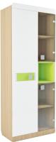 Шкаф с витриной Аквилон Стиль №5.3 (туя светлая/лайм) -