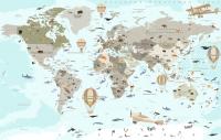 Фотообои листовые Citydecor Карта мира на русском 3 (400x254) -