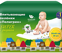 Пеленки одноразовые Пелигрин Super 264 60x60 (30шт) -