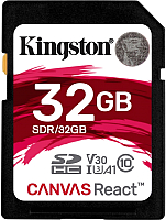 Карта памяти Kingston Canvas React SDHC (Class 10) UHS-I 32Gb (SDR/32GB) -
