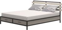Двуспальная кровать Millwood Neo Loft КМ-1.6 Ш 207x182x94 (дуб беленый/металл черный) -
