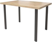 Обеденный стол Millwood Лофт Прага Л 130x80x75 (дуб золотой Craft/металл черный) -
