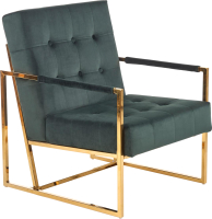 Кресло мягкое Halmar Prius (темно-зеленый/золото) -