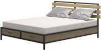 Двуспальная кровать Millwood Neo Loft КМ-1.6 Ш 207x182x94 (дуб натуральный/металл черный) -