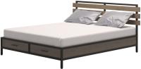 Двуспальная кровать Millwood Neo Loft КМ-1.6 Ш 207x182x94 (дуб темный/металл черный) -