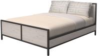 Двуспальная кровать Millwood Neo Loft КМ-2.6 Ш 207x182x94 (дуб беленый/металл черный) -