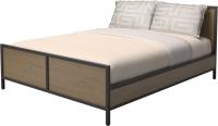 Двуспальная кровать Millwood Neo Loft КМ-2.6 Ш 207x182x94 (дуб темный/металл черный) -