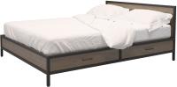 Двуспальная кровать Millwood Neo Loft КМ-3.6 Ш 207x182x94 (дуб темный/металл черный) -