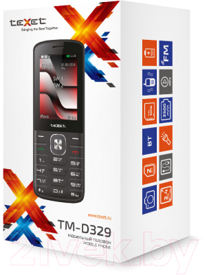 Мобильный телефон Texet TM-D329 (черный/красный)