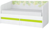 Кровать-тахта детская Аквилон Эко №800.4 (рамух белый/лайм) -