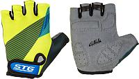 Перчатки велосипедные STG Х87910 (L, черный/салатовый/синий) -