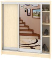Шкаф для обуви Кортекс мебель Сенатор ШК41 Классика ДСП с зеркалом (венге светлый) -