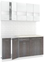 Готовая кухня Кортекс-мебель Корнелия Экстра 1.6м (белый/береза/марсель) -