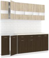 Готовая кухня Кортекс-мебель Корнелия Экстра 2.0м (дуб сонома/венге/королевский опал) -