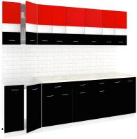 Готовая кухня Кортекс мебель Корнелия Экстра 2.5м (красный/черный/мадрид) -