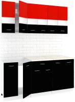 Готовая кухня Кортекс мебель Корнелия Экстра 1.7м (красный/черный/мадрид) -