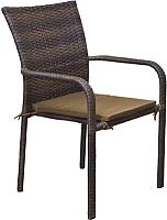Кресло садовое Седия Montenegro с зеленой подушкой 30мм (steel/коричневый) -