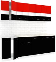 Готовая кухня Кортекс мебель Корнелия Экстра 2.3м (красный/черный/мадрид) -