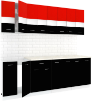 Готовая кухня Кортекс мебель Корнелия Экстра 2.4м (красный/черный/мадрид) -
