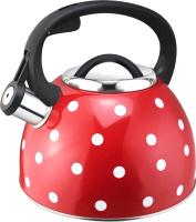 Чайник со свистком Mallony Maestria 005176 (красный в белый горошек) -