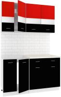 Готовая кухня Кортекс мебель Корнелия Экстра 1.4м (красный/черный/мадрид) -