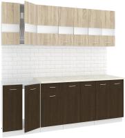 Готовая кухня Кортекс-мебель Корнелия Экстра 2.2м (дуб сонома/венге/марсель) -