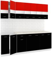 Готовая кухня Кортекс мебель Корнелия Экстра 2.2м (красный/черный/мадрид) -