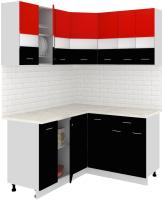 Готовая кухня Кортекс мебель Корнелия Экстра 1.5x1.4м (красный/черный/мадрид) -