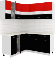 Готовая кухня Кортекс мебель Корнелия Экстра 1.5x1.7м (красный/черный/мадрид) -
