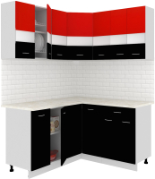 Готовая кухня Кортекс мебель Корнелия Экстра 1.5x1.5м (красный/черный/мадрид) -