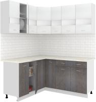 Готовая кухня Кортекс-мебель Корнелия Экстра 1.5x1.7м (белый/береза/королевский опал) -