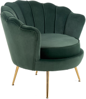 Кресло мягкое Halmar Amorinito (темно-зеленый/золото) -